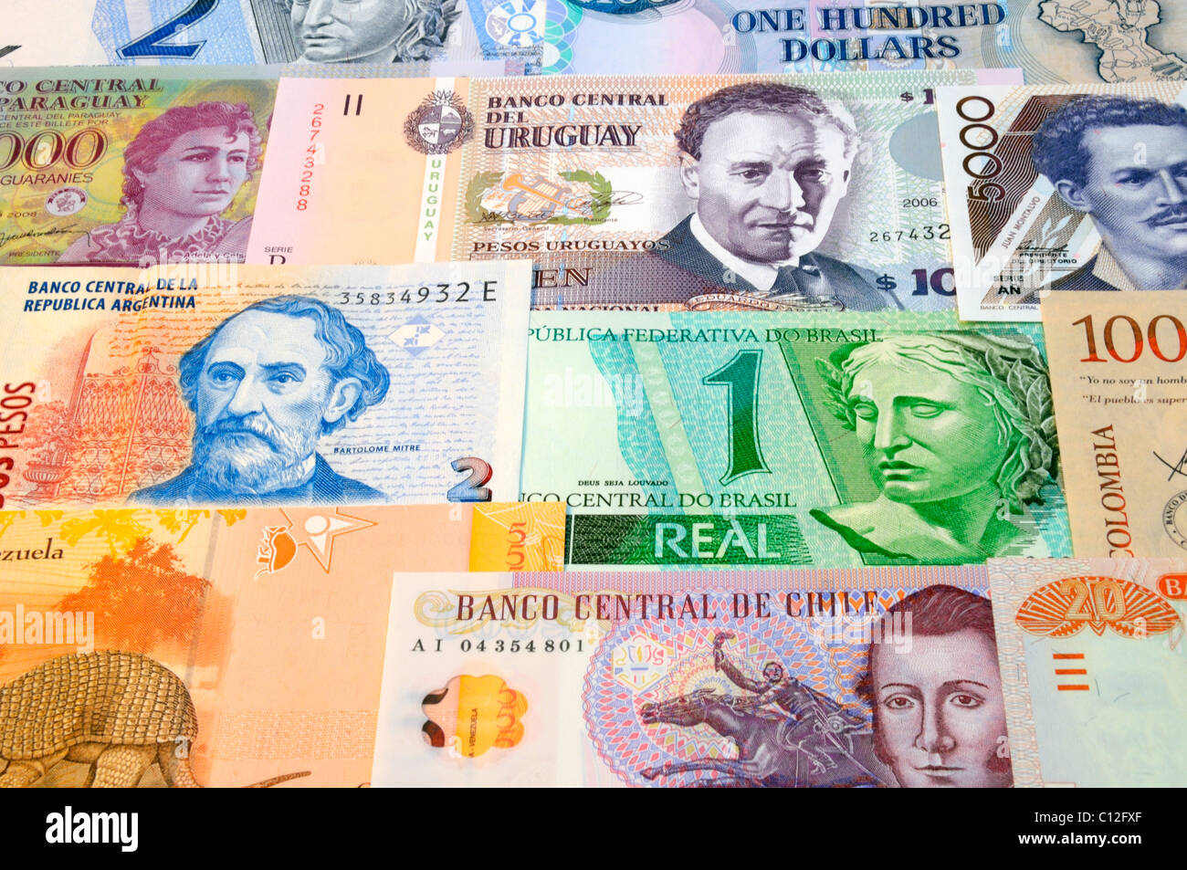 South American Bank Notes. - Stock Image