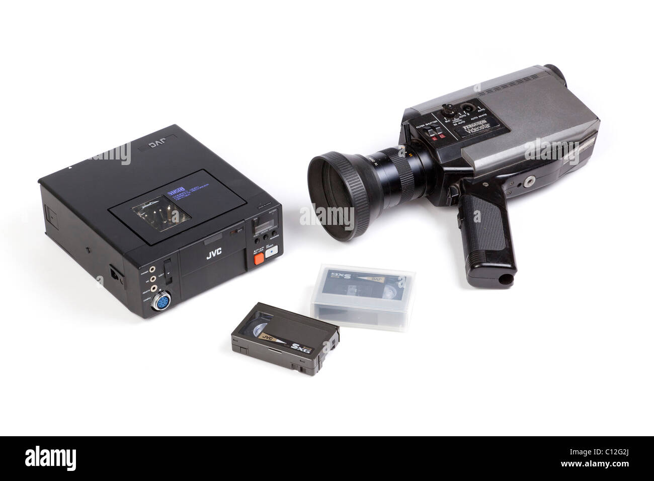 old video camera and portable sVHS video recorder - Stock Image
