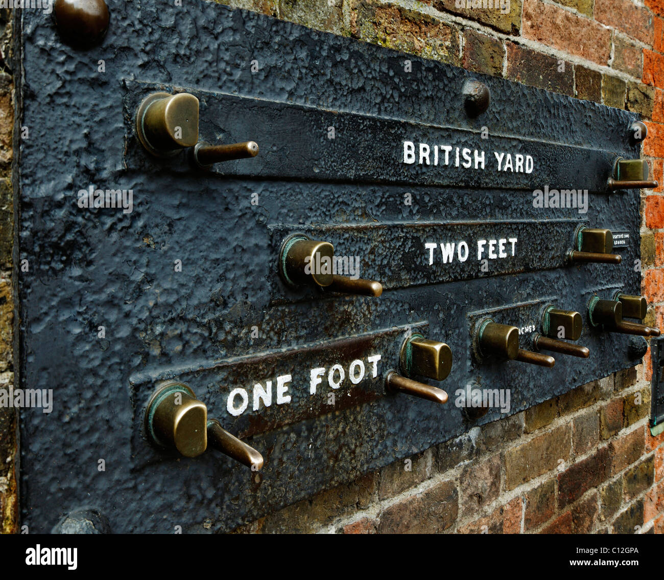 The Public Imperial measurement gauge at the Royal Observatory in Greenwich, London. - Stock Image