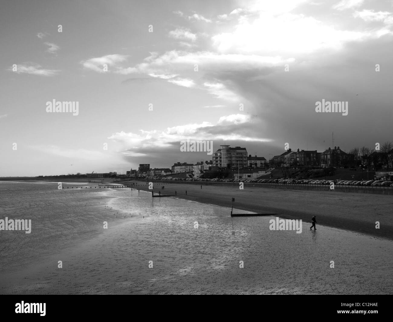 Beach at Cleethorpes North East Lincolnshire Feb 2011 - Stock Image