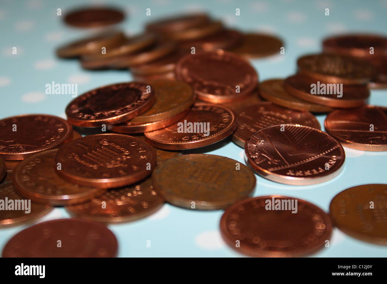 Pennies in a Pile - Stock Image