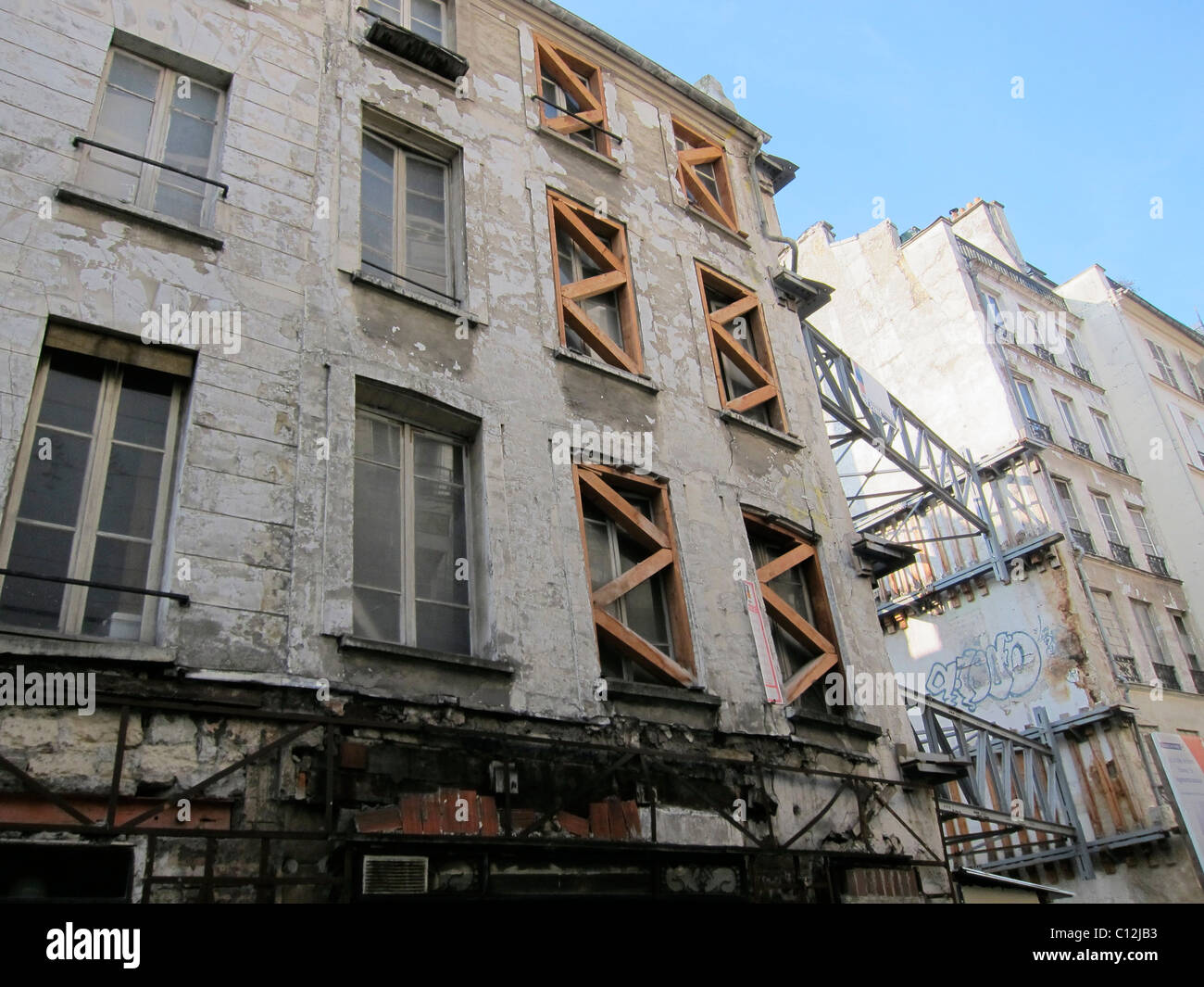Paris France Old Apartment Building in Bad
