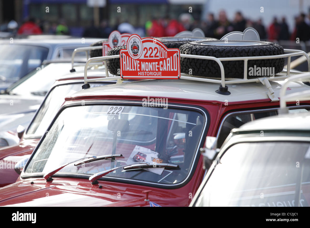 Cars parked in Glasgow prior to the start of the 2011 Monte Carlo Rallye, Scotland, UK - Stock Image