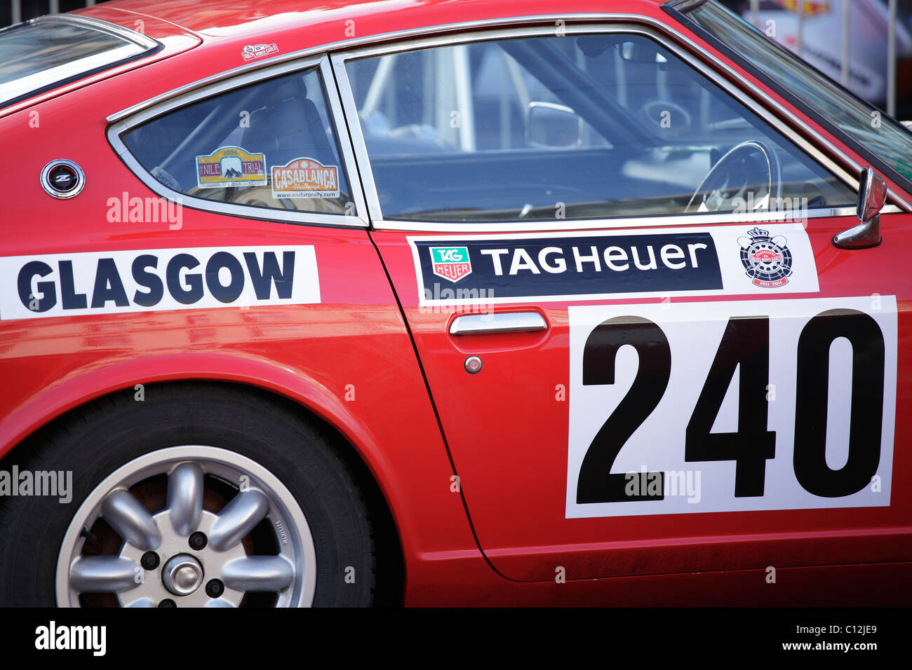 Car parked in Glasgow prior to the start of the 2011 Monte Carlo Rallye, Scotland,  UK - Stock Image