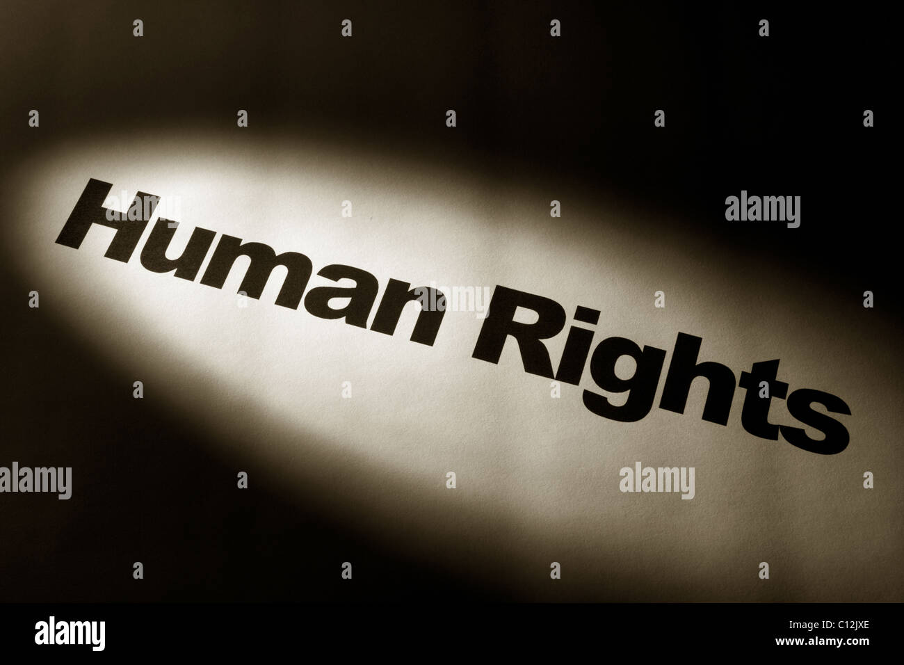 light and word of Human Rights for background - Stock Image