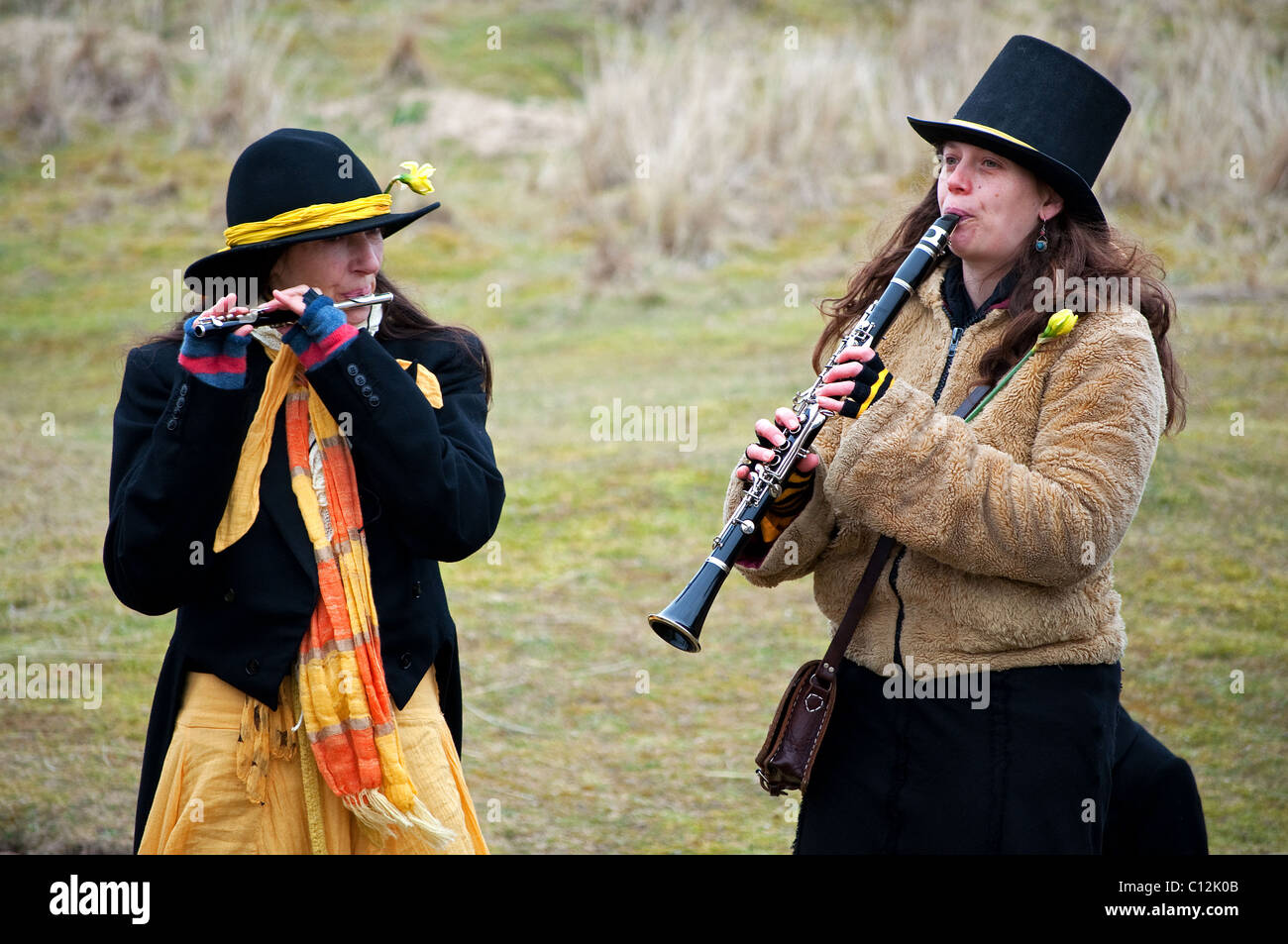 A local folk band playing during the annual St.Pirans day celebrations at Perranporth in Cornwall, UK - Stock Image