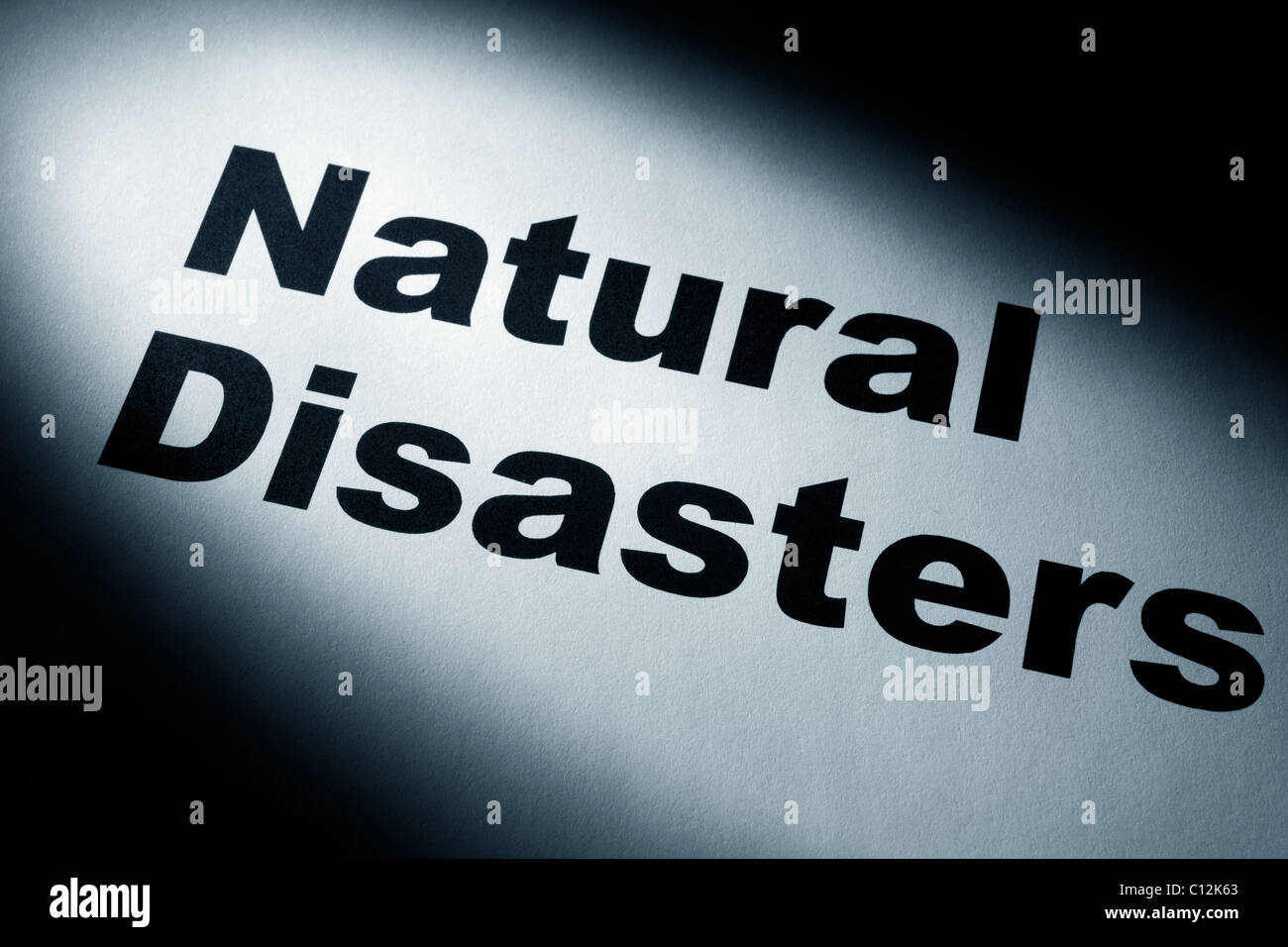 light and word of Natural Disasters for background - Stock Image