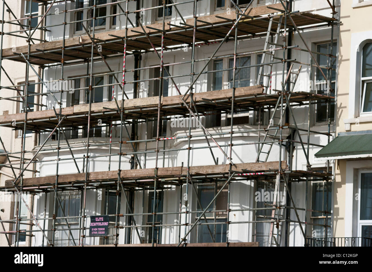 Scaffolding On The Front Of A Building - Stock Image