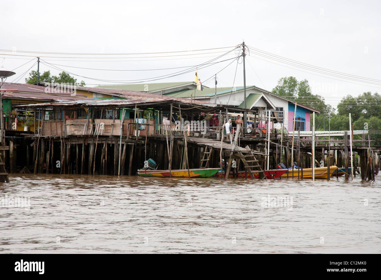 Houses in Water Village Brunei River - Stock Image