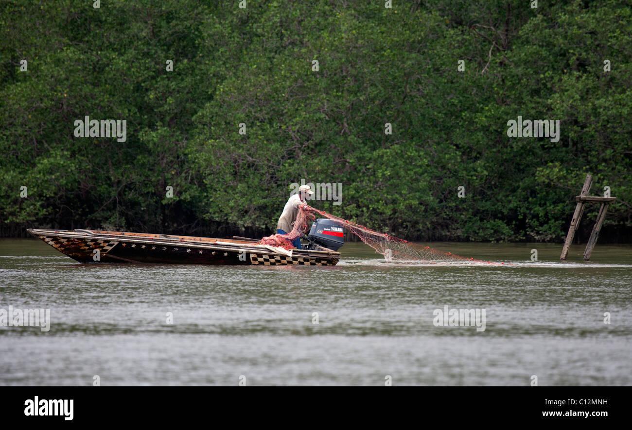 Net Fishing on Brunei River - Stock Image