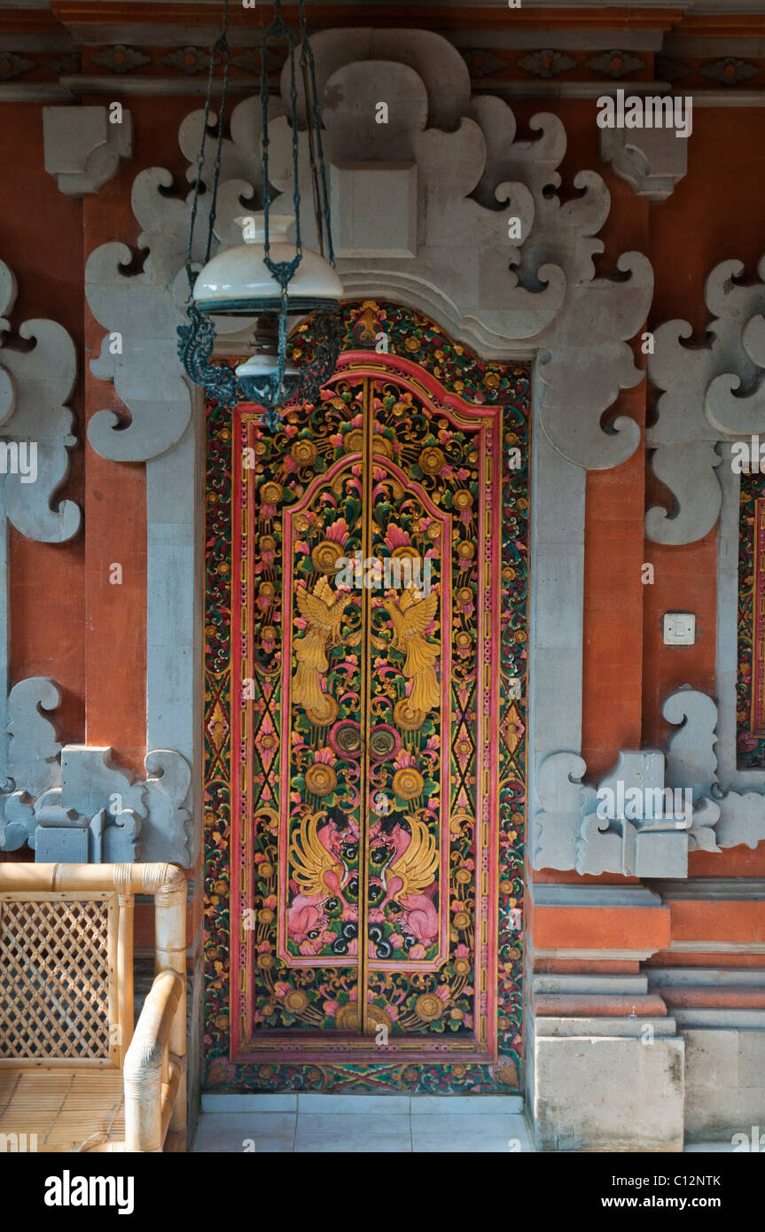Traditional Balinese carved double doors with antique Dutch hanging l& & Traditional Balinese carved double doors with antique Dutch hanging ...