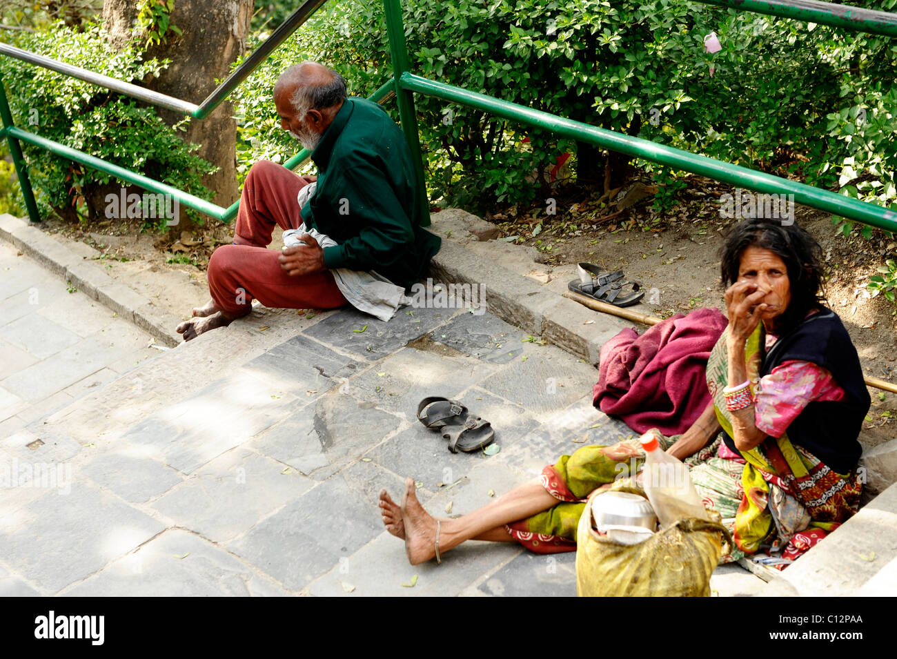 beggars , peoples lives ( the nepalis ) , to live and die in kathmandu , life in kathmandu , kathmandu street life - Stock Image