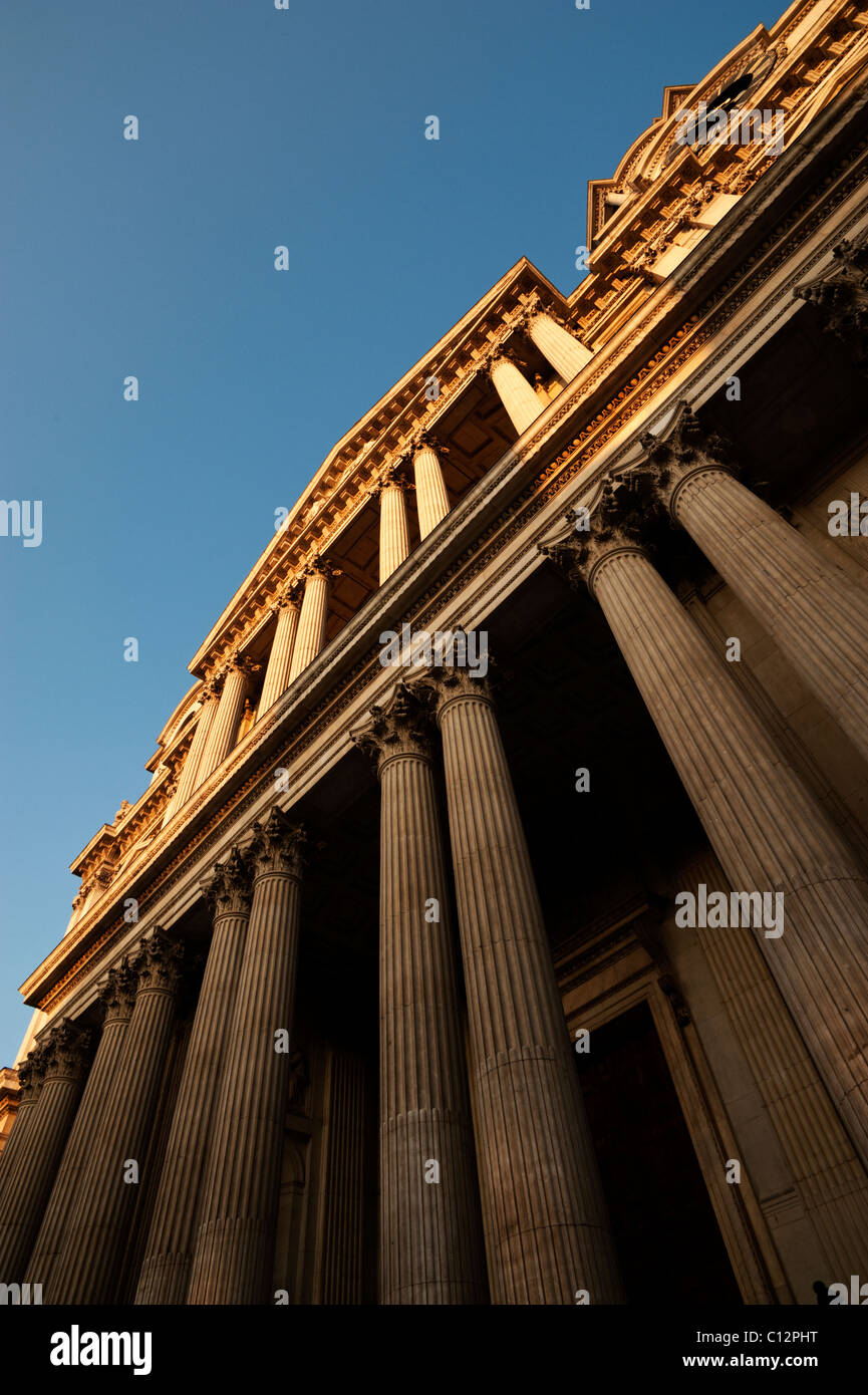 The main entrance to Saint Paul's Cathedral, London, is through the Corinthian columns. - Stock Image