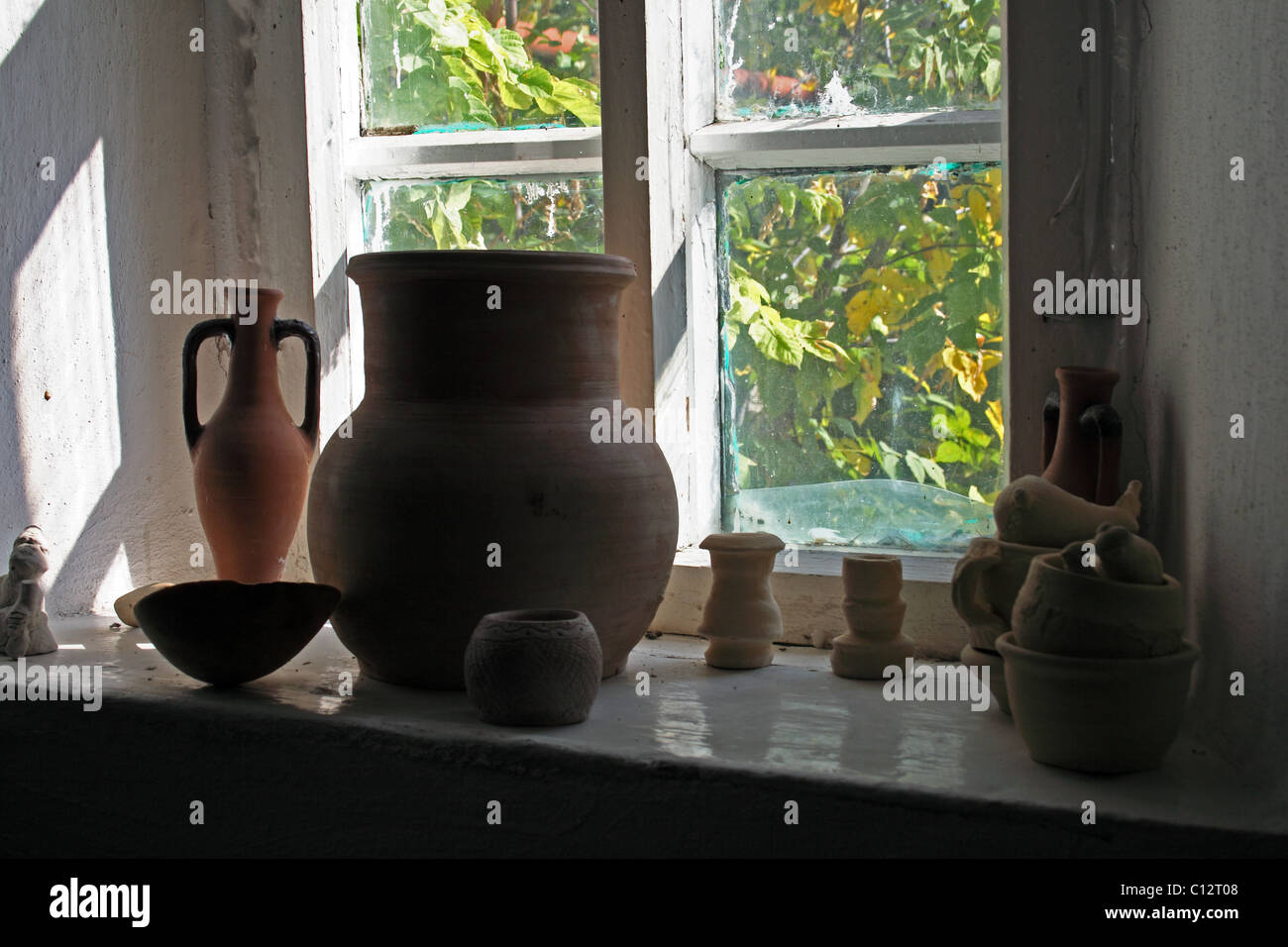 window in ukranian house - Stock Image