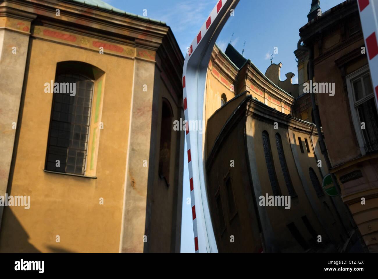 Building exterior distortion in Przemysl, Poland - Stock Image