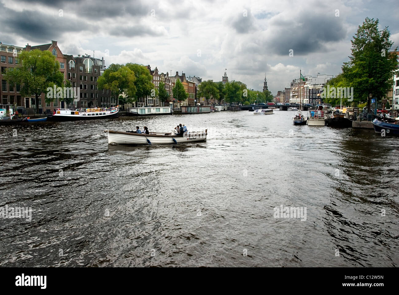 Canal boats in Amsterdam, Holland - Stock Image