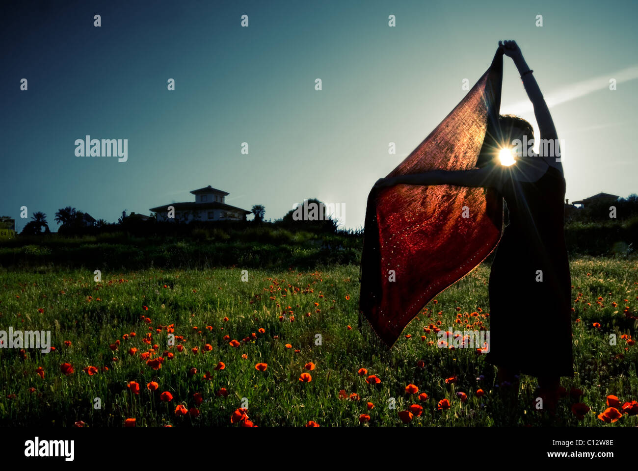 Woman holds red shawl in field of wildflowers, sunset, Granada, Andalusia - Stock Image