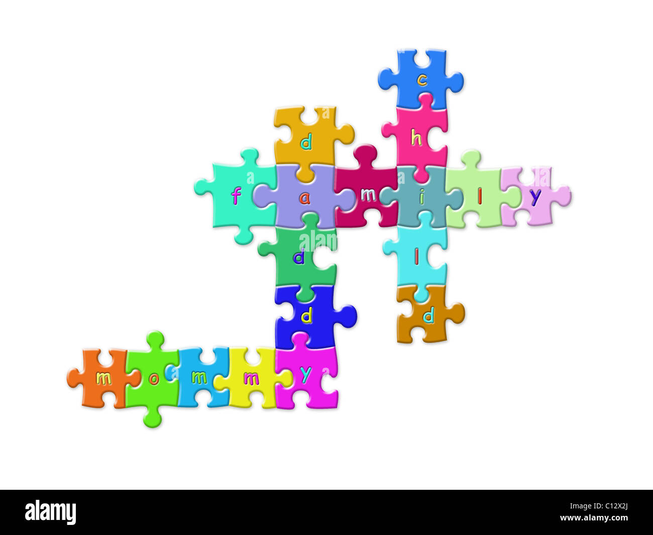 Colorful puzzle pieces put together to form crosswords of mommy, daddy, family and child words - Stock Image