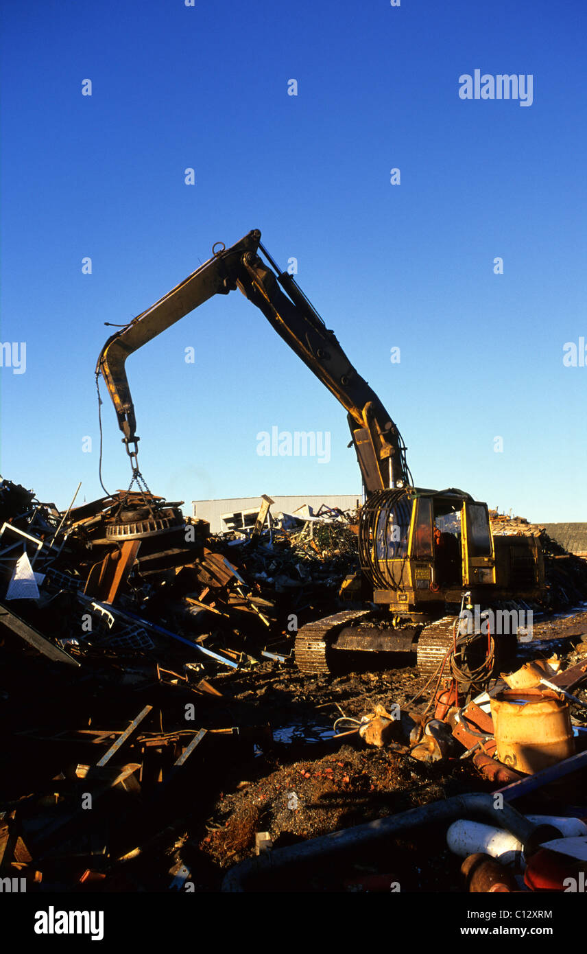 magnetic arm of crane carrying scrap metal into trailer for recycling at scrapyard UK - Stock Image