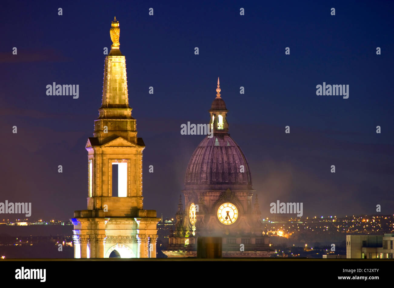 leeds civic hall and Leeds town hall built in 1858 designed by cuthbert brodrick leeds yorkshire uk - Stock Image
