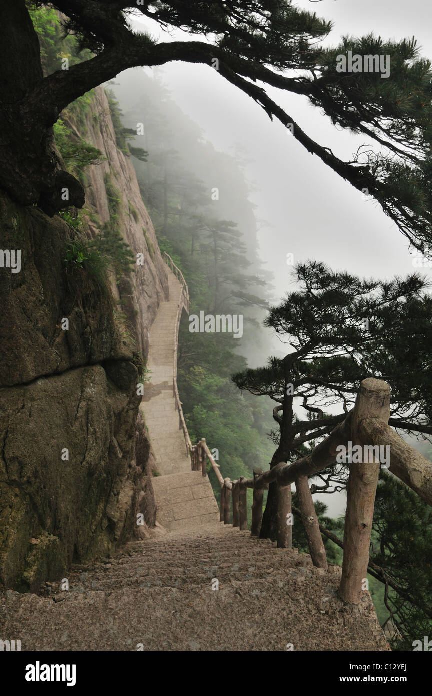 stairway in West Sea Canyon of Huangshan Mountains in Chinese Anhui Province - Stock Image