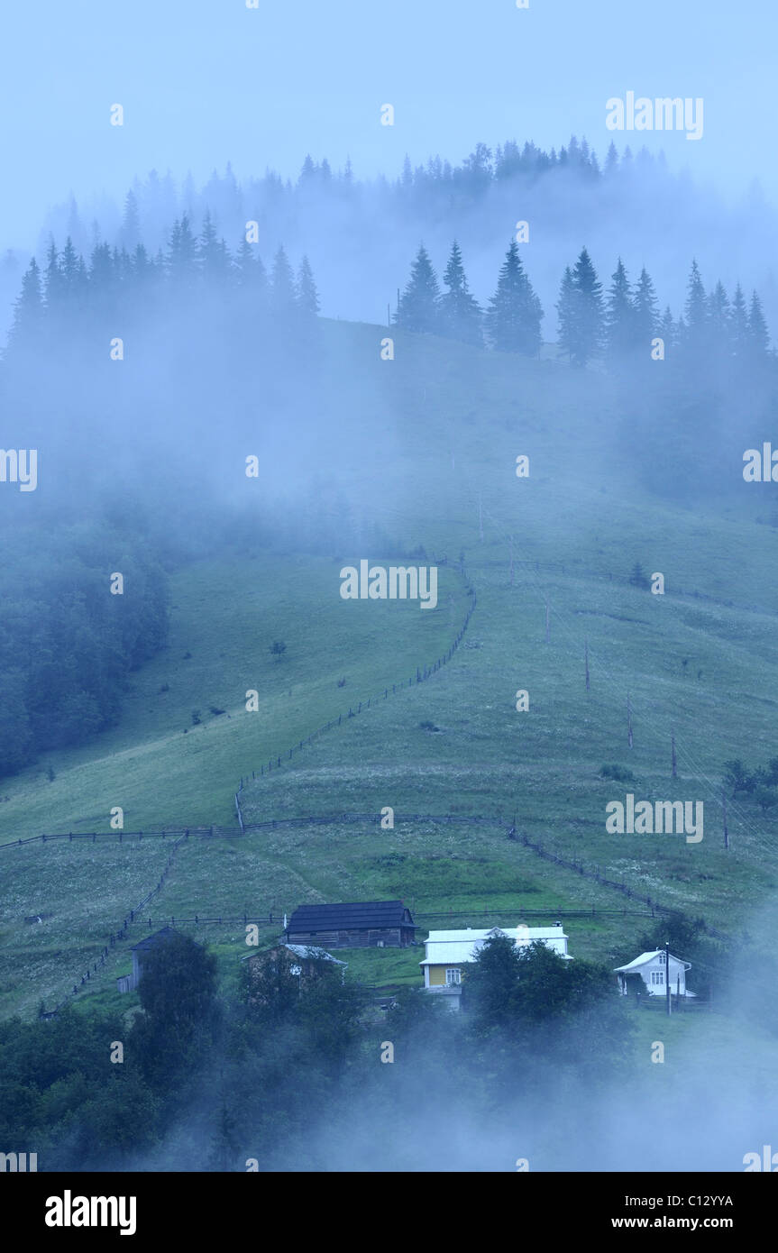 fog laying over dzembronya landscape in ukraine - Stock Image
