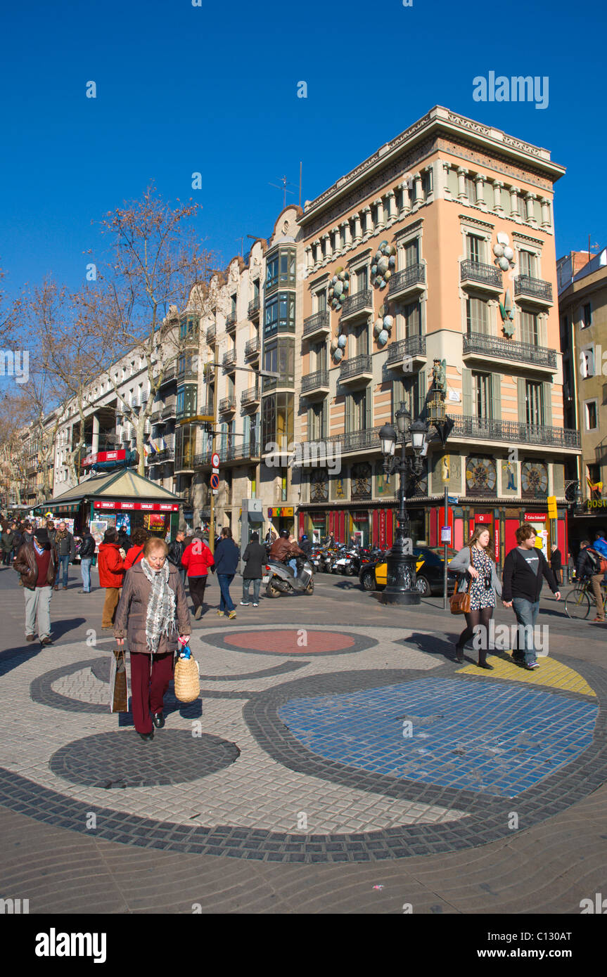Mosaic by Joan Miro on Ramblas street central Barcelona Catalunya Spain Europe - Stock Image