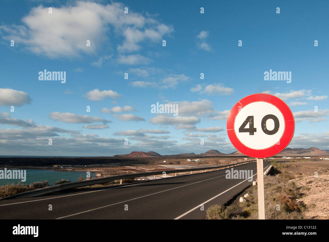 40 miles per hour road sign - Stock Image
