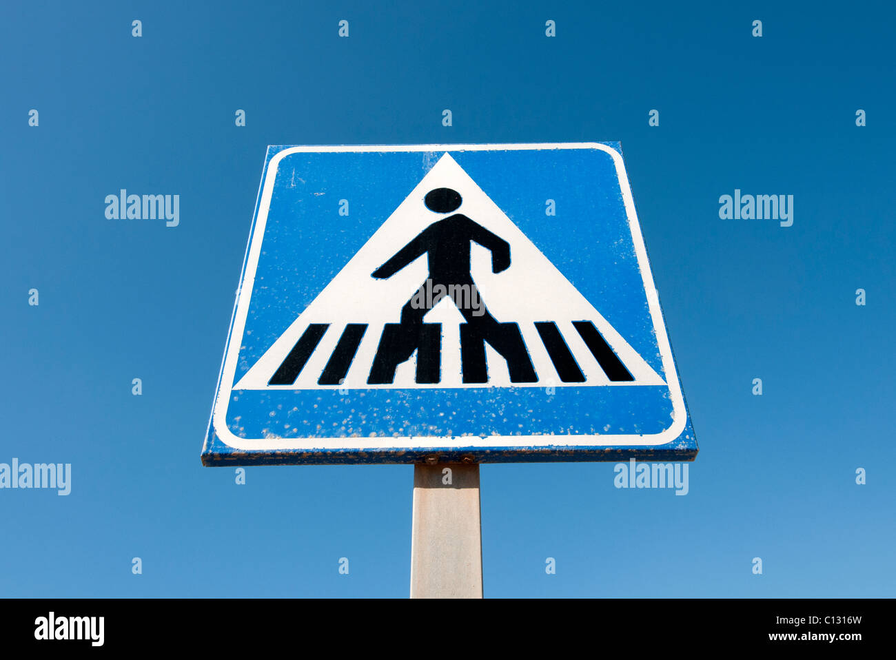 zebra crossing road sign Stock Photo