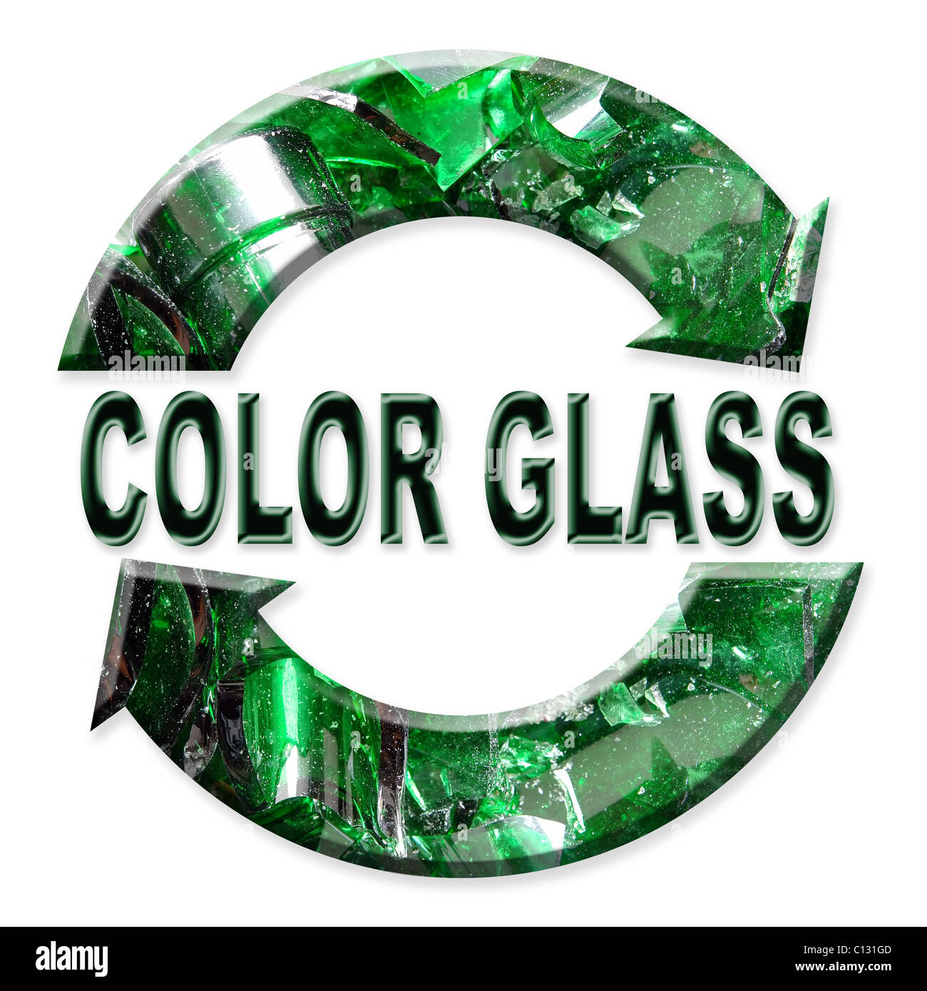 Two Arrow Color Glass Recycling Symbol Over White Background Stock