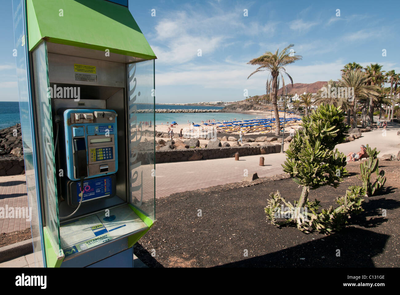 pay phone box in Lanzarote - Stock Image