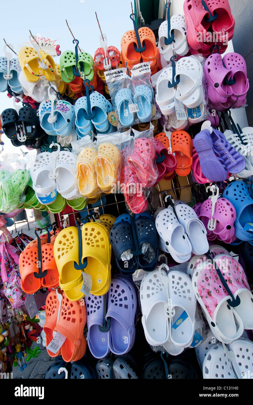 9a5b3b26bb9b flip flops stand outside shop in Playa Blanca Stock Photo  35102508 ...