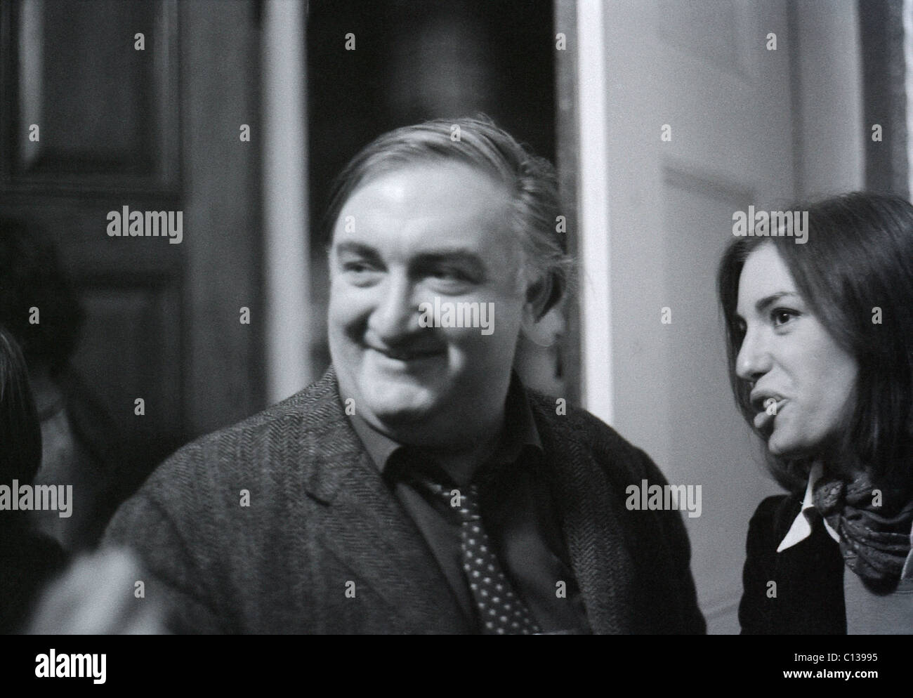 British architect Sir James Stirling at the RIBA Heinz Gallery exhibition of Cedric Prices's work London1975 - Stock Image