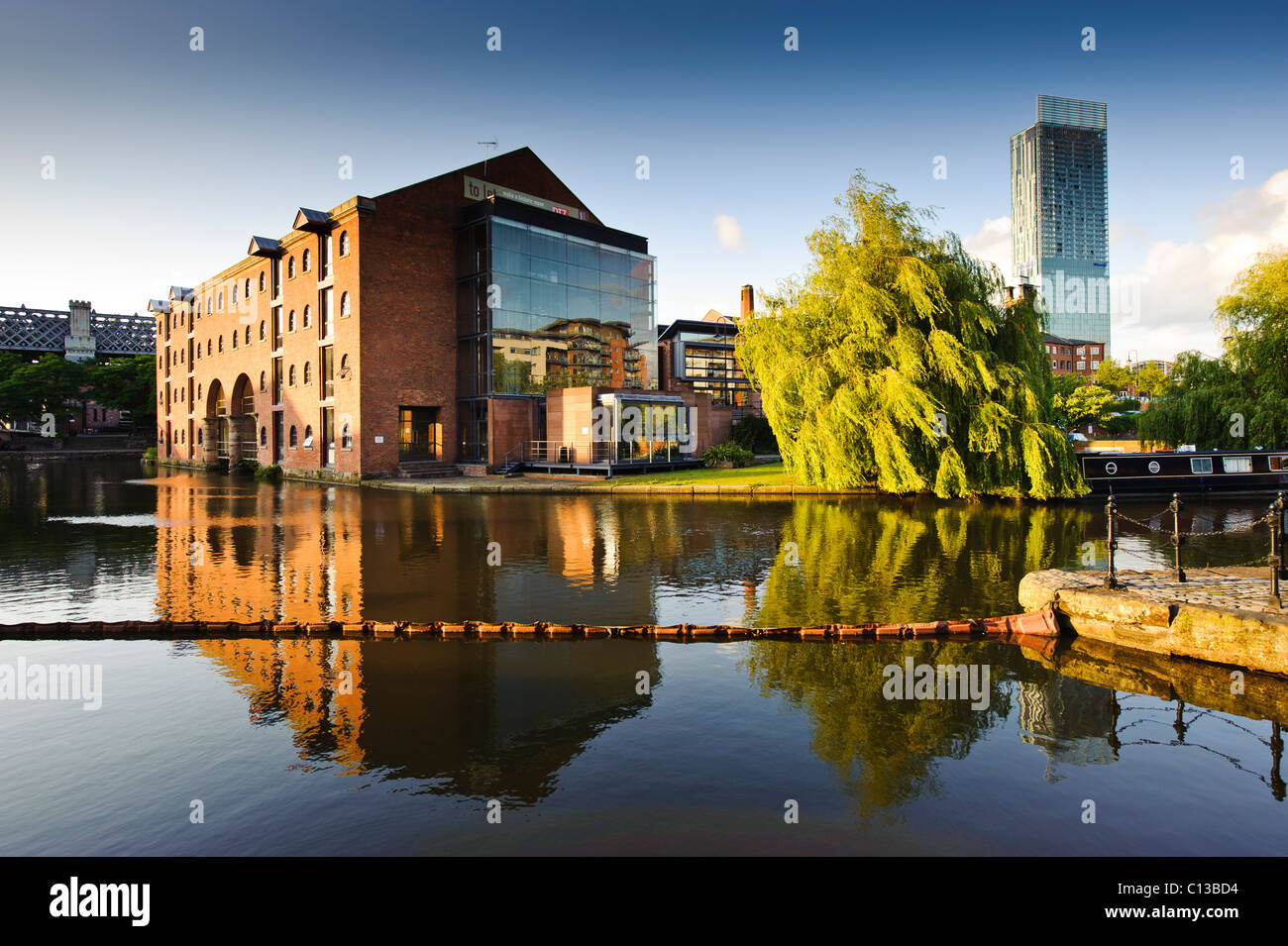 Castlefield canal area Manchester with beetham hilton in background - Stock Image
