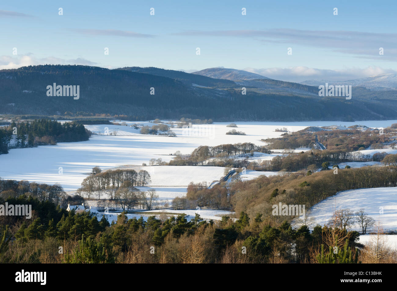 Loch Ken, Galloway, frozen over with islets Looking north - Stock Image