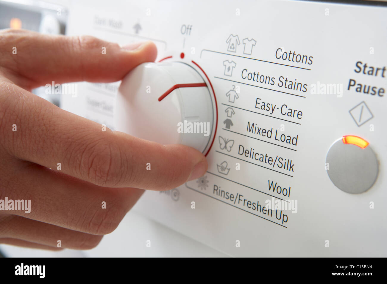 Close up of clothes washer dial - Stock Image