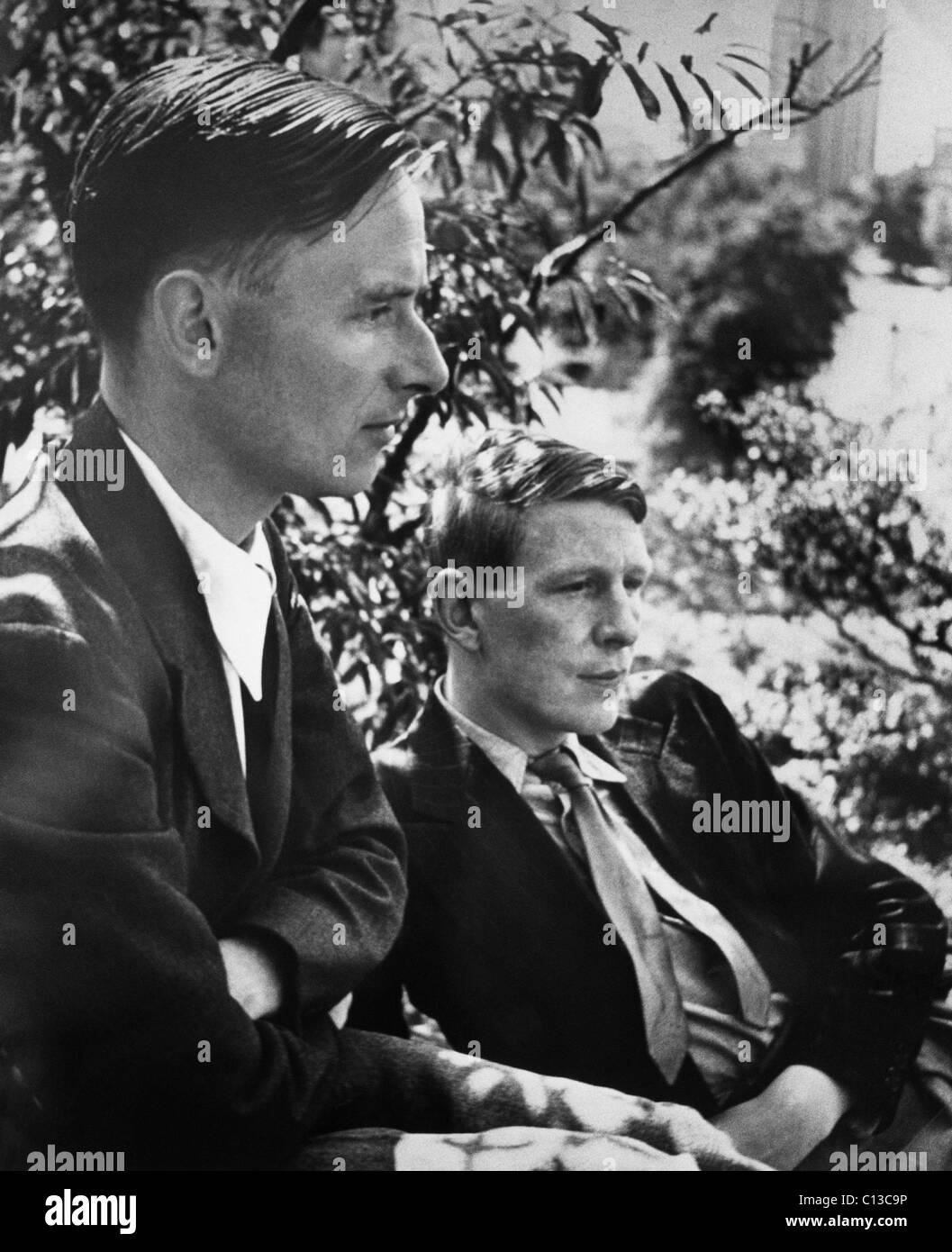 Christopher Isherwood, novelist, and W.H. Auden, poet, circa 1930s. - Stock Image
