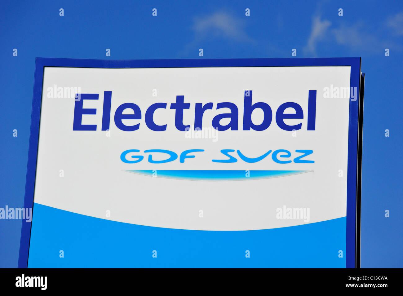 Sign of energy corporation Electrabel, Ghent, Belgium - Stock Image