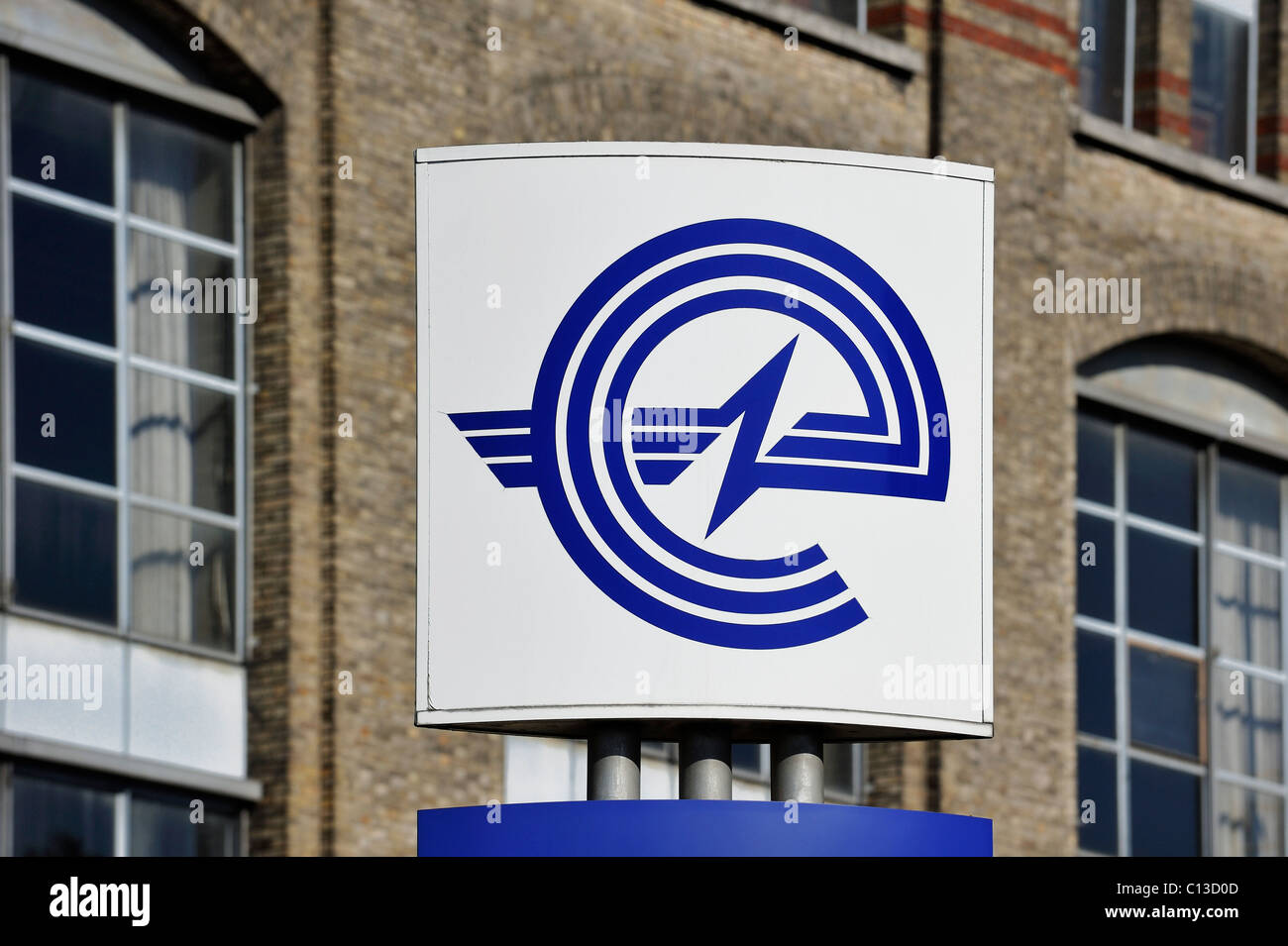 Sign with logo of energy corporation Electrabel, Ghent, Belgium - Stock Image