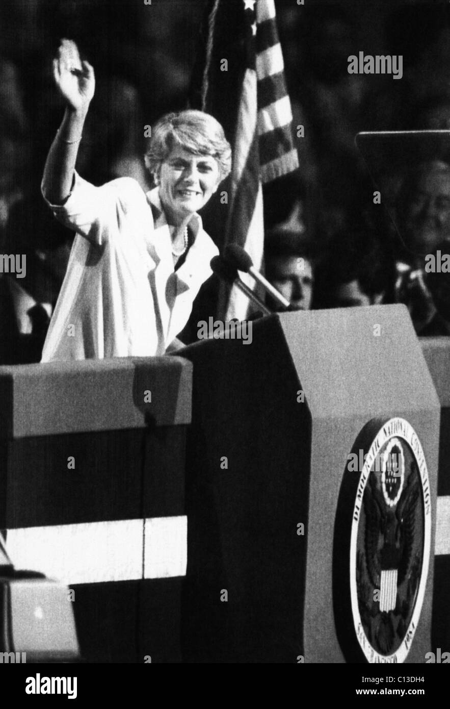 US Elections. US Congresswoman and vice presidential candidate Geraldine Ferraro making her acceptance speech at - Stock Image