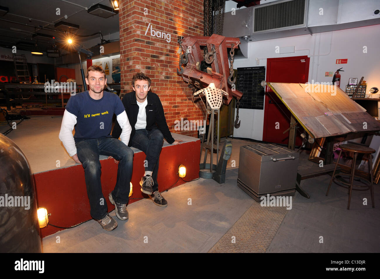 Bang Goes The Theory presenters Jem Stansfield (left) and Dallas Campbell before filming at their new location at - Stock Image