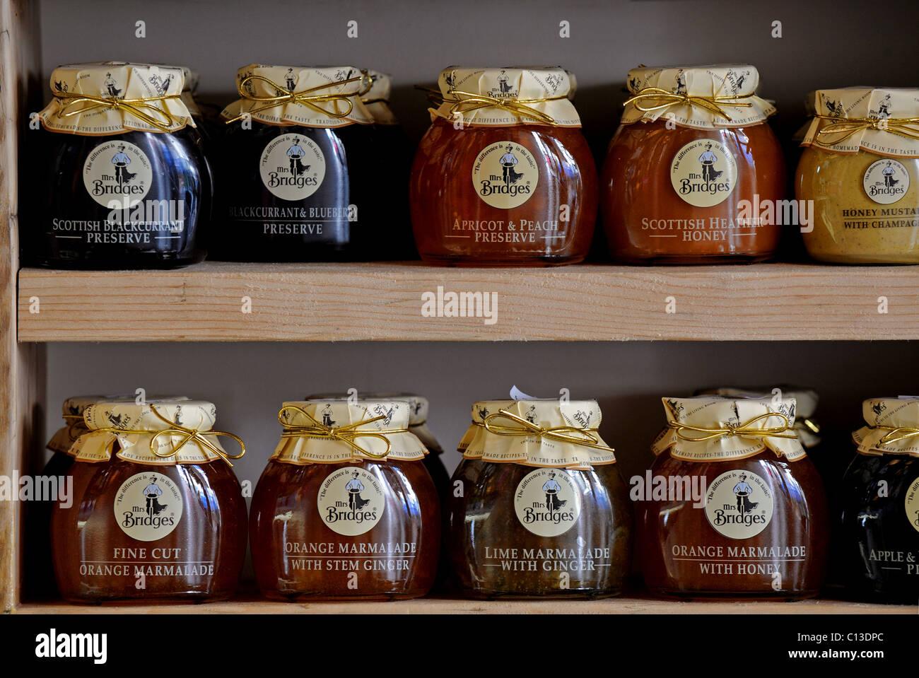 Shelves of Mrs Bridges marmalades and jams on display in Artisan delicatessen - Stock Image