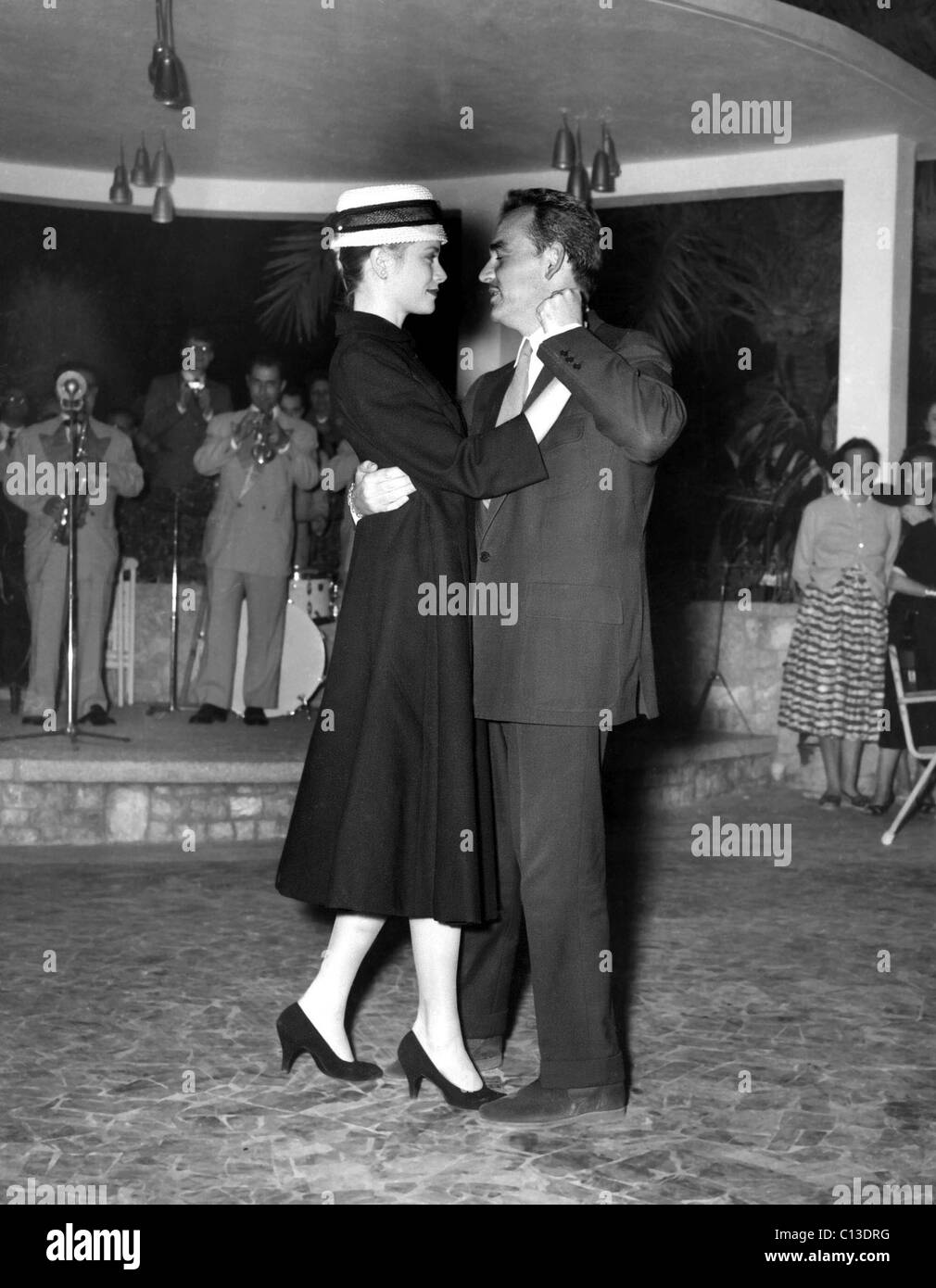 Princess Grace Kelly, Prince Rainier dancing at Palma de Majorca, where a reception was held to honor the recent - Stock Image