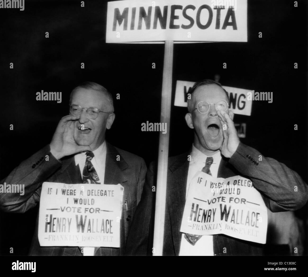 US Elections. From left: Minnesota delegates Halvor Langslet and Bennie Brandt call for the re-nomination of Henry - Stock Image