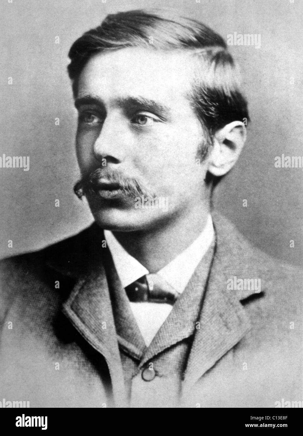 H.G. Wells, author as a young man, in the 1800s. - Stock Image