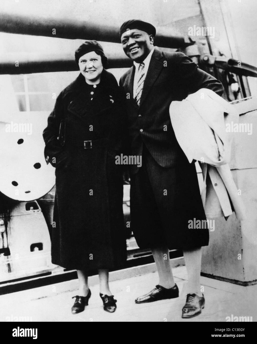 Boxer Jack Johnson, right, and his third wife, Irene Pineau, ca. early 1930s - Stock Image