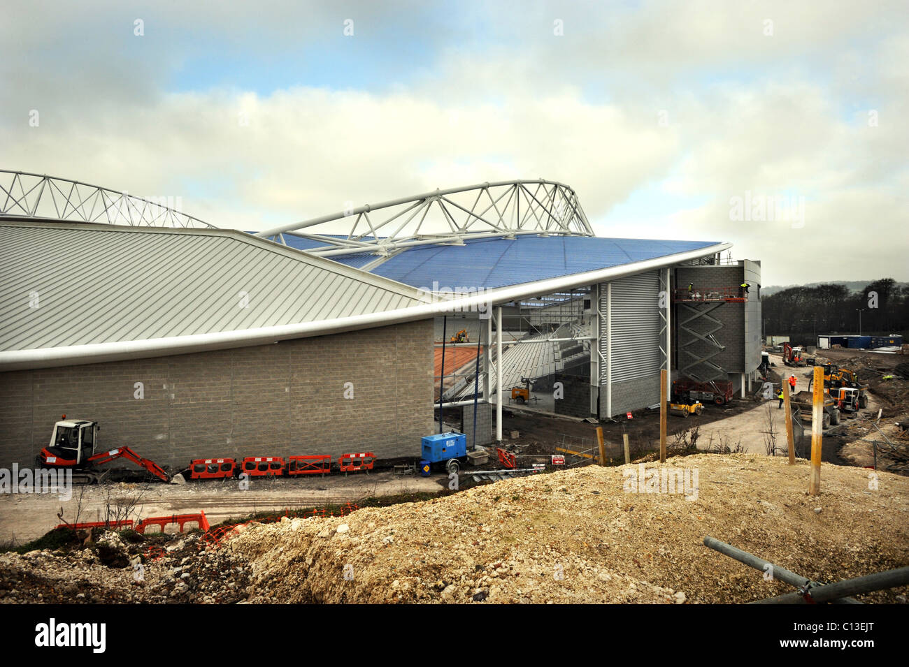 Building work takes place on the American Express Community Stadium, the new home of Brighton and Hove Albion Football Club Stock Photo
