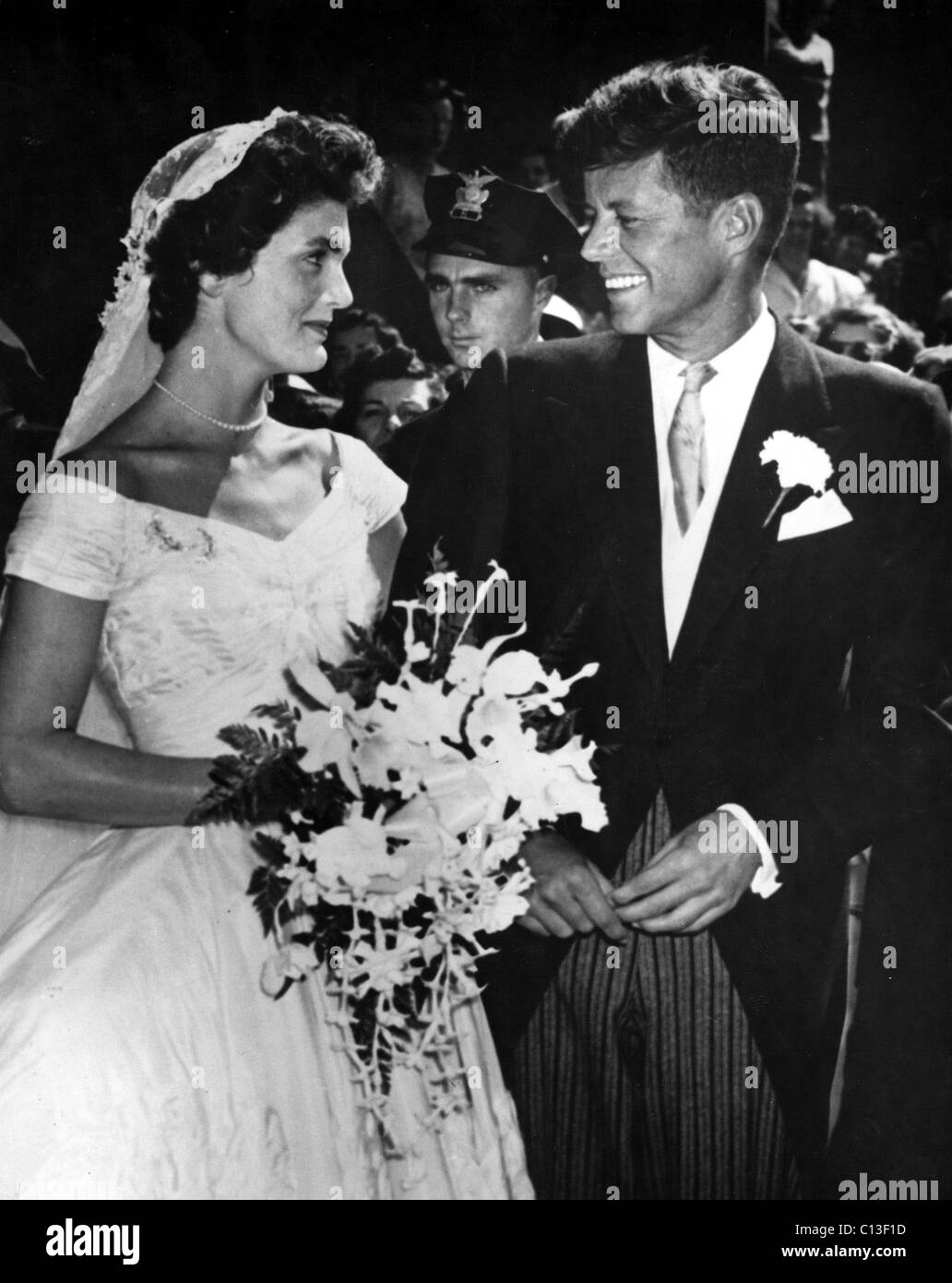 Jacqueline Kennedy and John F. Kennedy on their Wedding day Stock ...