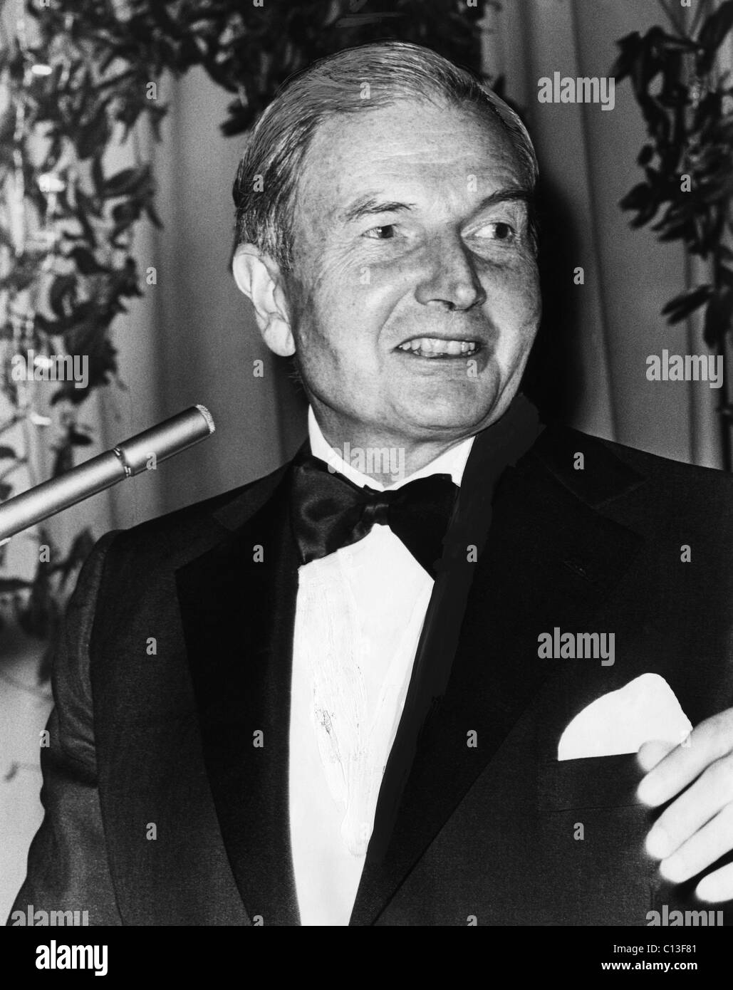 Rockefeller Family. Statesman David Rockefeller at a United Negro College Fund dinner, circa mid-1970s. - Stock Image