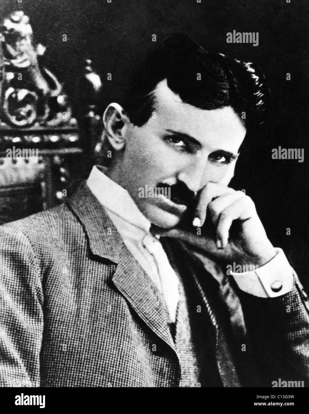 Nikola Tesla, physicist, engineer and inventor of alternating current power, 1890s - Stock Image
